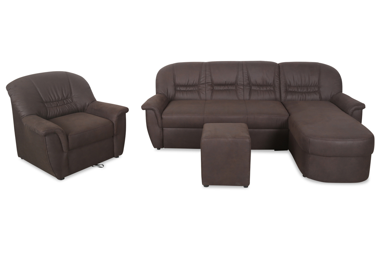 ecksofa zoe mit hocker und sessel mit relax und. Black Bedroom Furniture Sets. Home Design Ideas