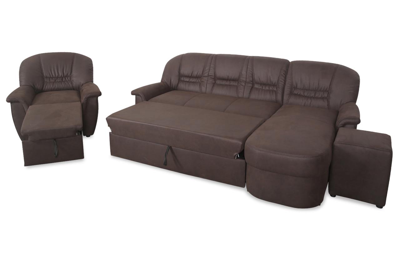ecksofa zoe mit hocker und sessel mit relax und schlaffunktion braun sofas zum halben preis. Black Bedroom Furniture Sets. Home Design Ideas