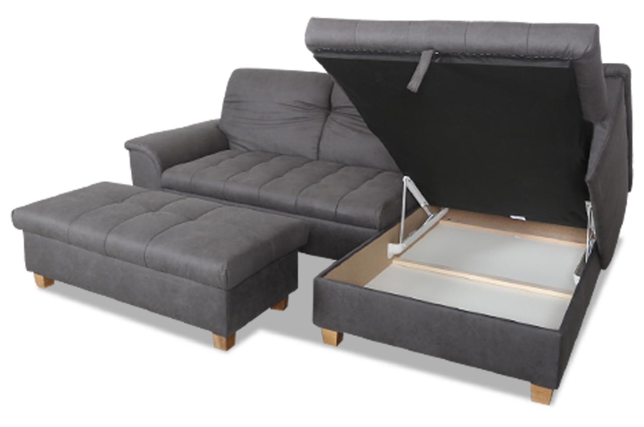 ecksofa lya mit hocker mit schlaffunktion grau sofas zum halben preis. Black Bedroom Furniture Sets. Home Design Ideas