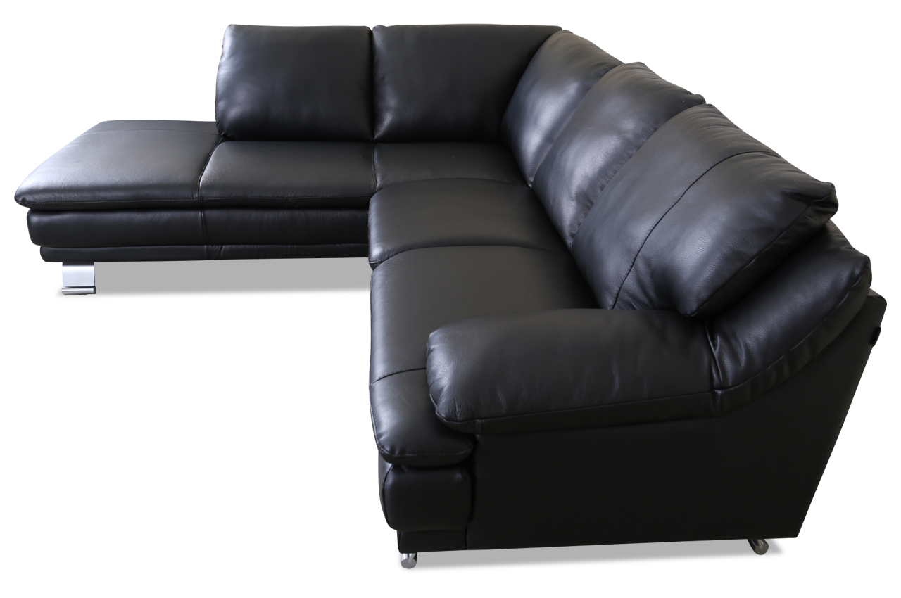 editions leder ecksofa xl u118 schwarz mit federkern echt leder sofa couch. Black Bedroom Furniture Sets. Home Design Ideas