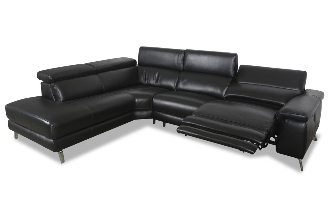 htl international leder ecksofa xl 5320b schwarz mit. Black Bedroom Furniture Sets. Home Design Ideas