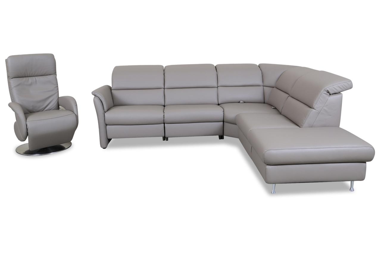 leder rundecke mit sessel grau sofas zum halben preis. Black Bedroom Furniture Sets. Home Design Ideas