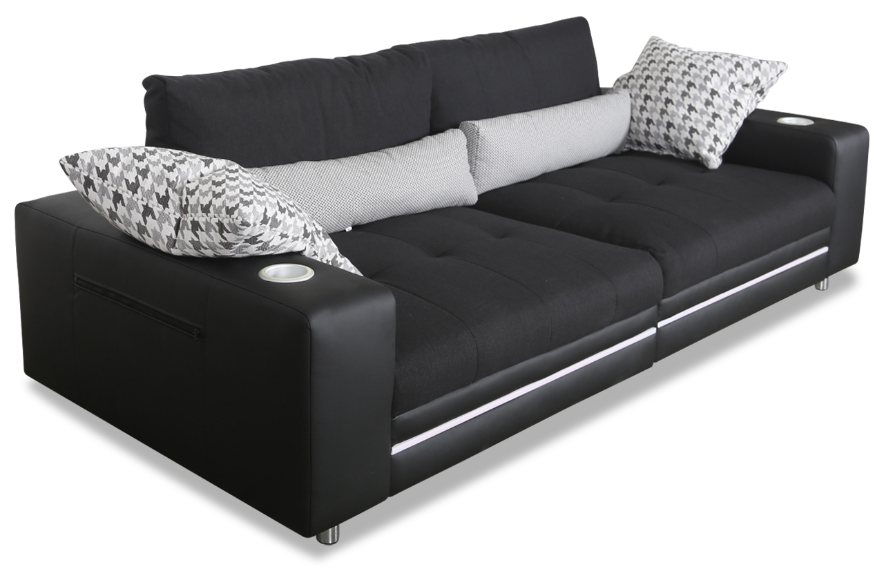 castello bigsofa cinema mit led und sound schwarz sofas zum halben preis. Black Bedroom Furniture Sets. Home Design Ideas