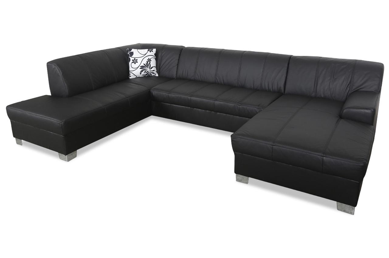 leder wohnlandschaft emily schwarz sofas zum halben preis. Black Bedroom Furniture Sets. Home Design Ideas