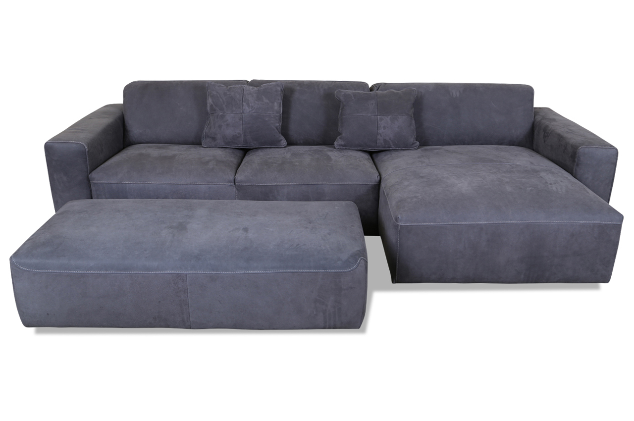 cotta leder ecksofa varenne mit hocker grau mit. Black Bedroom Furniture Sets. Home Design Ideas