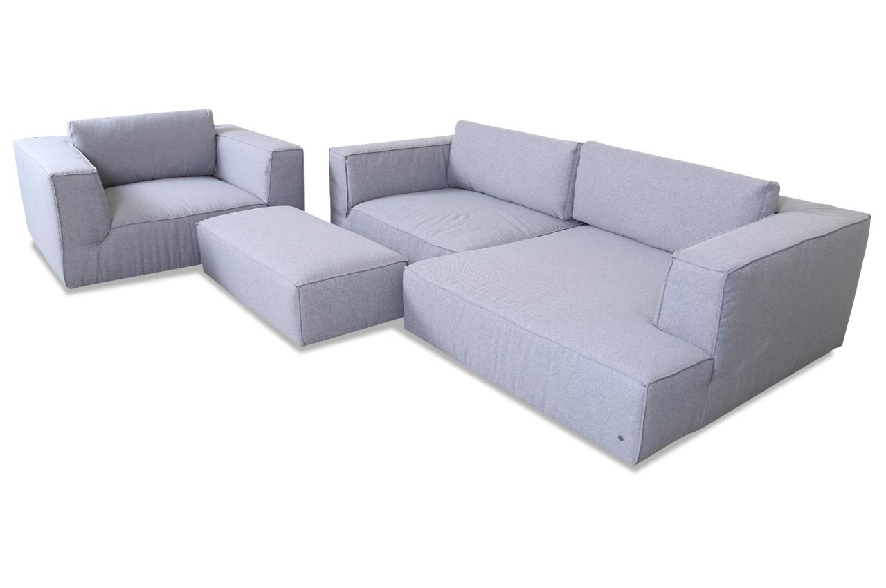 tom tailor ecksofa xl cube 300 mit hocker und sessel grau mit federkern sofas zum halben preis. Black Bedroom Furniture Sets. Home Design Ideas