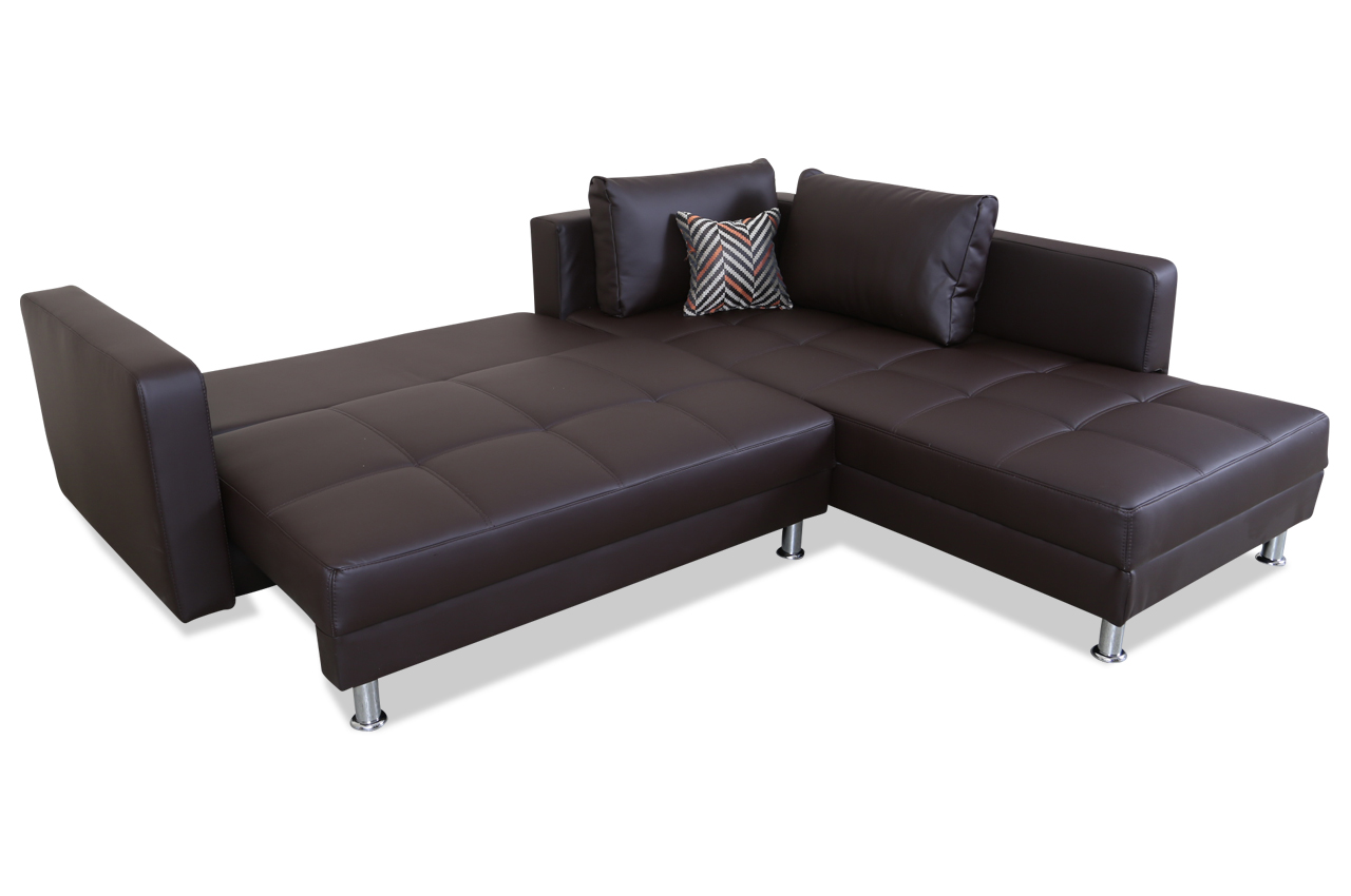 ecksofa xl mit schlaffunktion braun kunstleder sofa couch ebay. Black Bedroom Furniture Sets. Home Design Ideas