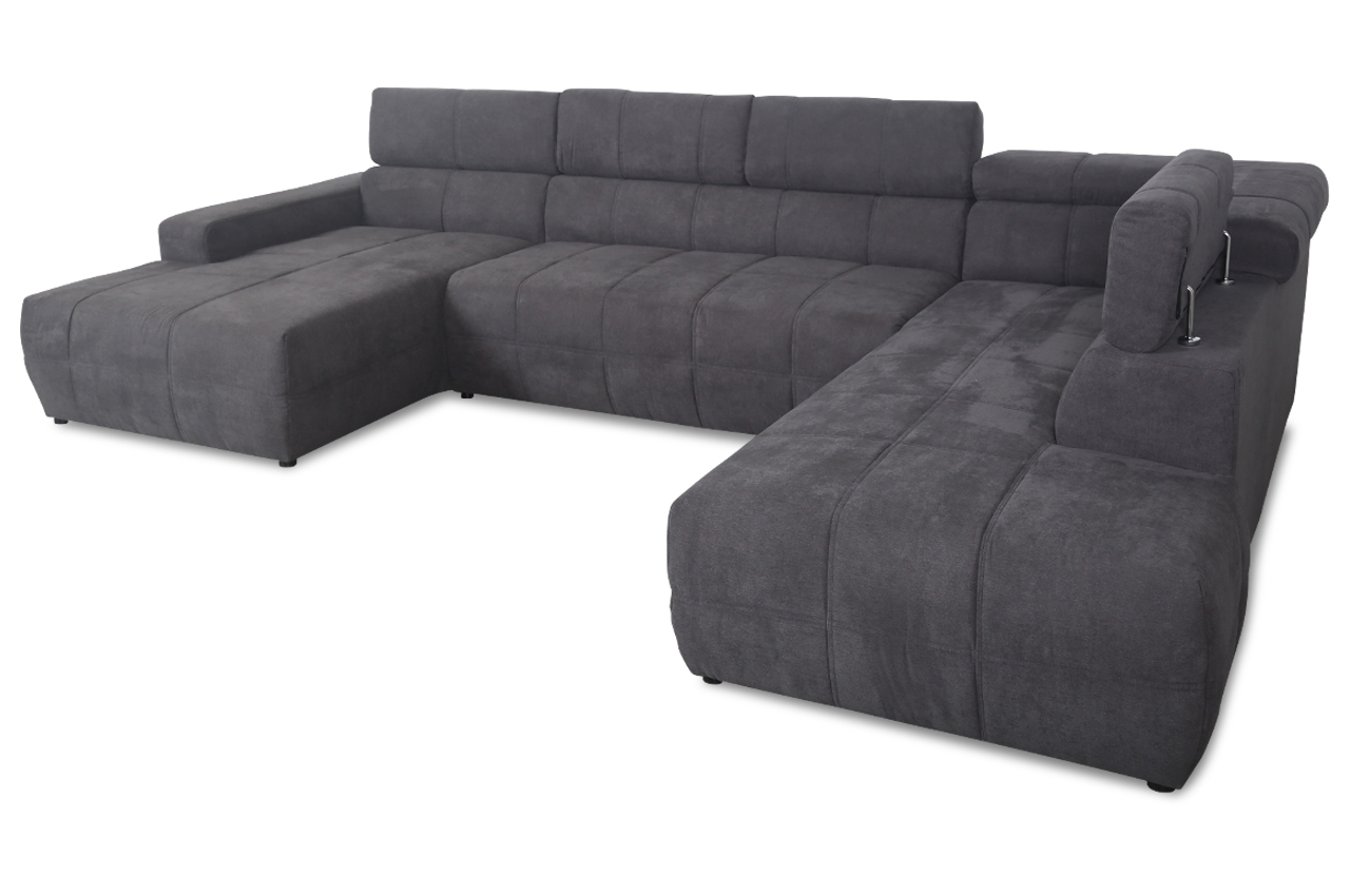 wohnlandschaft brandon anthrazit stoff sofa couch ebay. Black Bedroom Furniture Sets. Home Design Ideas