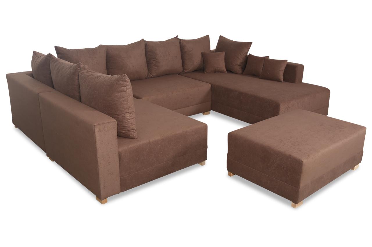 wohnlandschaft matrix 300 mit hocker braun sofas zum. Black Bedroom Furniture Sets. Home Design Ideas