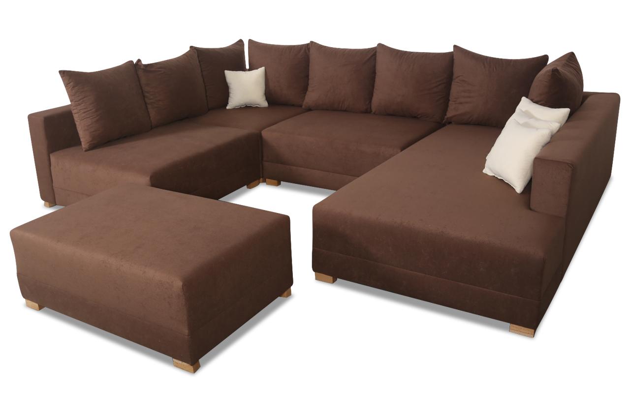 furntrade wohnlandschaft matrix 300 mit hocker braun. Black Bedroom Furniture Sets. Home Design Ideas