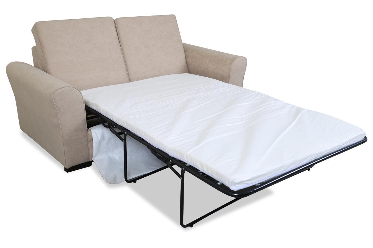 furntrade 3er sofa sara mit schlaffunktion creme mit federkern microfaser ebay. Black Bedroom Furniture Sets. Home Design Ideas
