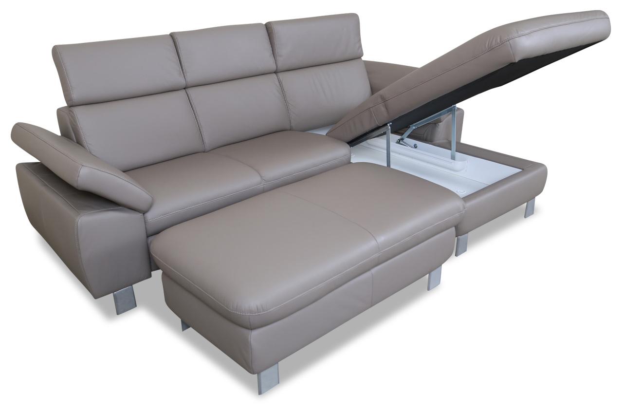 leder ecksofa mit hocker grau mit federkern sofas zum halben preis. Black Bedroom Furniture Sets. Home Design Ideas