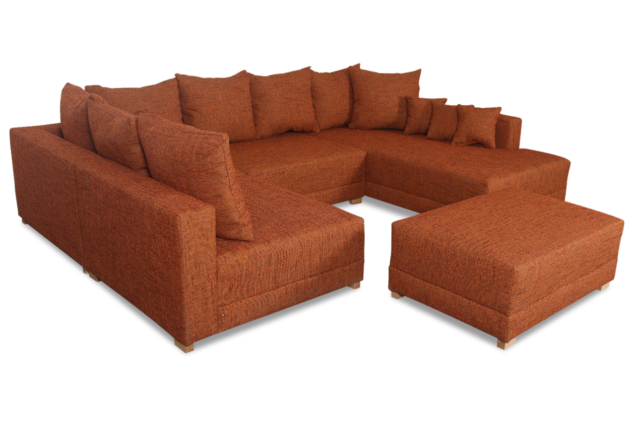 wohnlandschaft matrix 300 mit hocker orange sofas zum. Black Bedroom Furniture Sets. Home Design Ideas