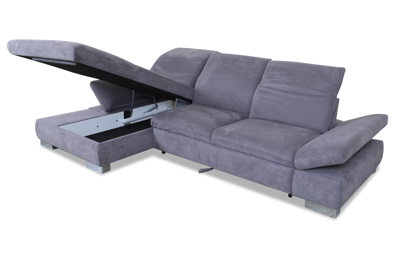 ecksofa mit sitzverstellung und schlaffunktion anthrazit mit federkern sofas zum halben preis. Black Bedroom Furniture Sets. Home Design Ideas