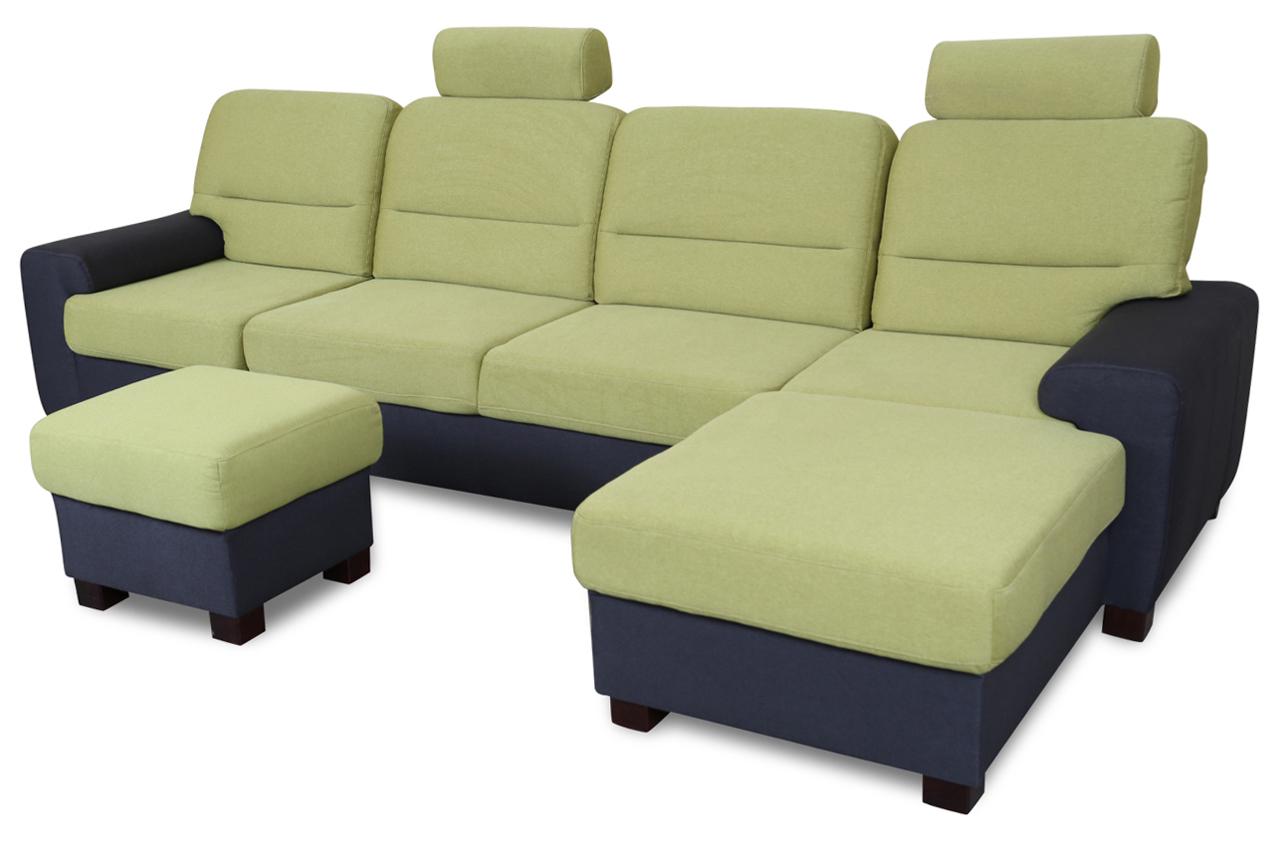 ecksofa malta mit hocker mit schlaffunktion gruen mit federkern sofas zum halben preis. Black Bedroom Furniture Sets. Home Design Ideas