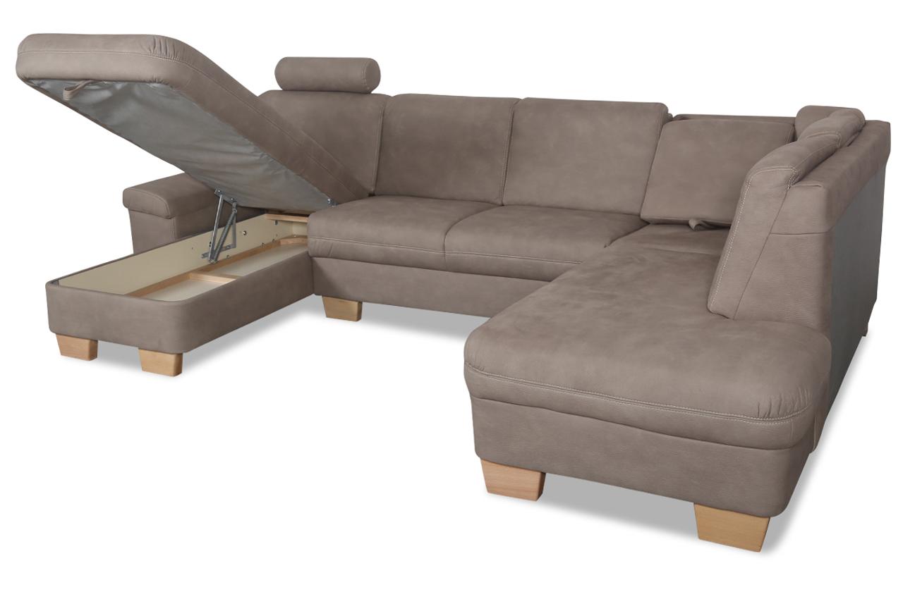 Ada alina wohnlandschaft 7411 mit relax braun sofas for Wohnlandschaft 7420