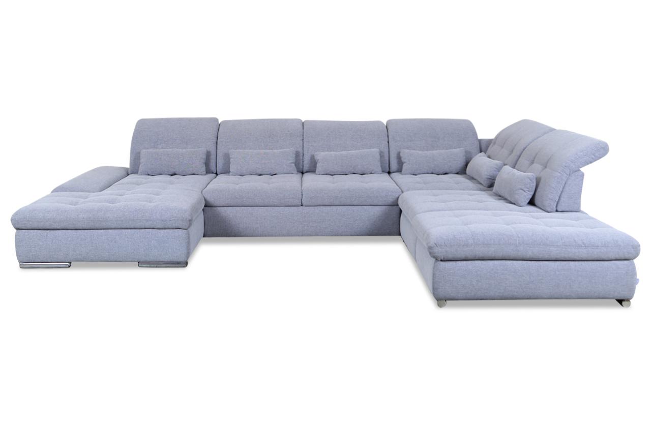 wohnlandschaft mit sitzverstellung und schlaffunktion grau mit federkern sofas zum halben. Black Bedroom Furniture Sets. Home Design Ideas