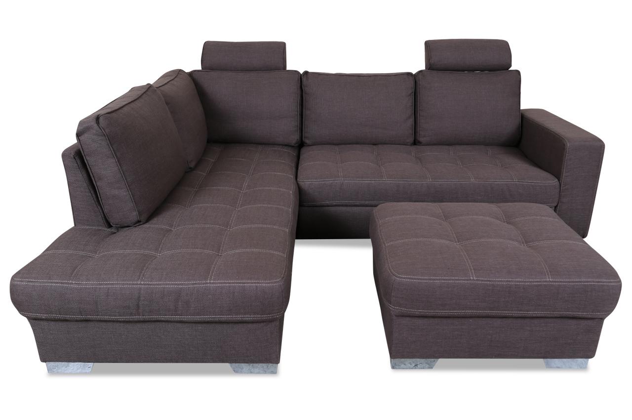 ecksofa xl arles mit hocker mit schlaffunktion braun mit federkern sofas zum halben preis. Black Bedroom Furniture Sets. Home Design Ideas