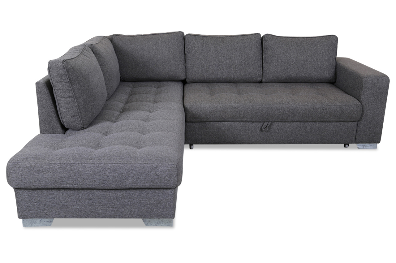 ecksofa xl arles mit schlaffunktion grau mit federkern. Black Bedroom Furniture Sets. Home Design Ideas