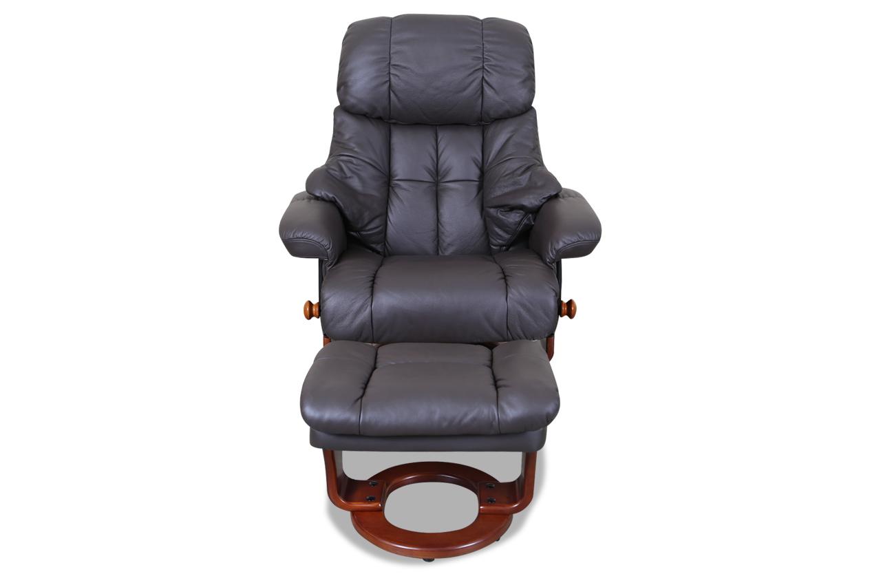 leder fernsehsessel mit hocker braun sofas zum halben. Black Bedroom Furniture Sets. Home Design Ideas