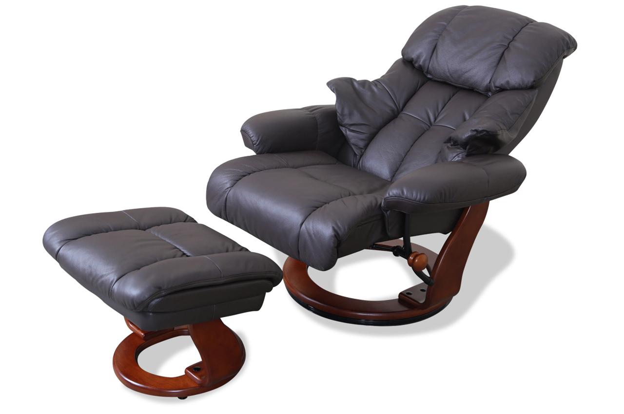 leder fernsehsessel mit hocker braun sofas zum halben preis. Black Bedroom Furniture Sets. Home Design Ideas