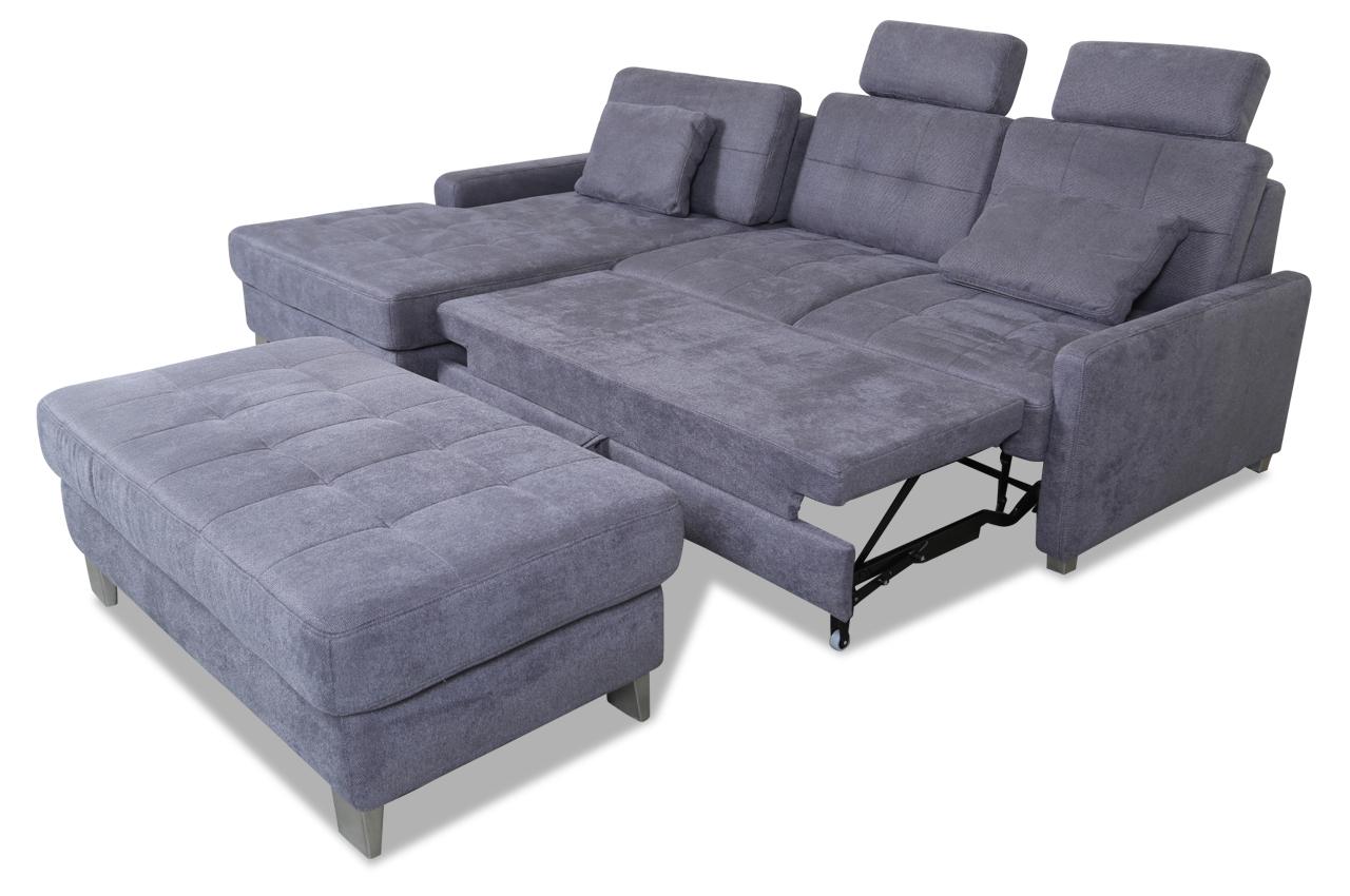 ecksofa mit hocker mit schlaffunktion grau mit federkern sofas zum halben preis. Black Bedroom Furniture Sets. Home Design Ideas