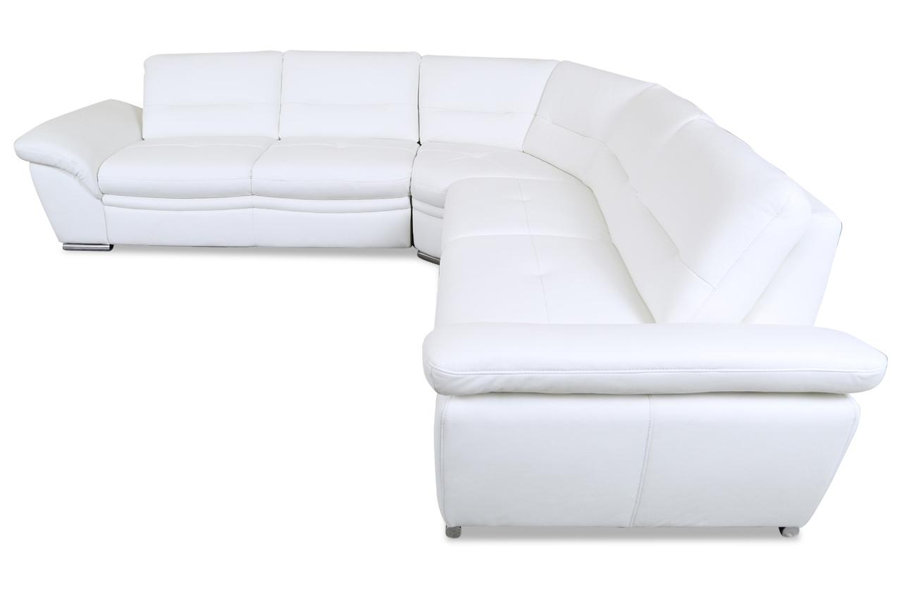 leder rundecke mit schlaffunktion weiss mit federkern sofas zum halben preis. Black Bedroom Furniture Sets. Home Design Ideas
