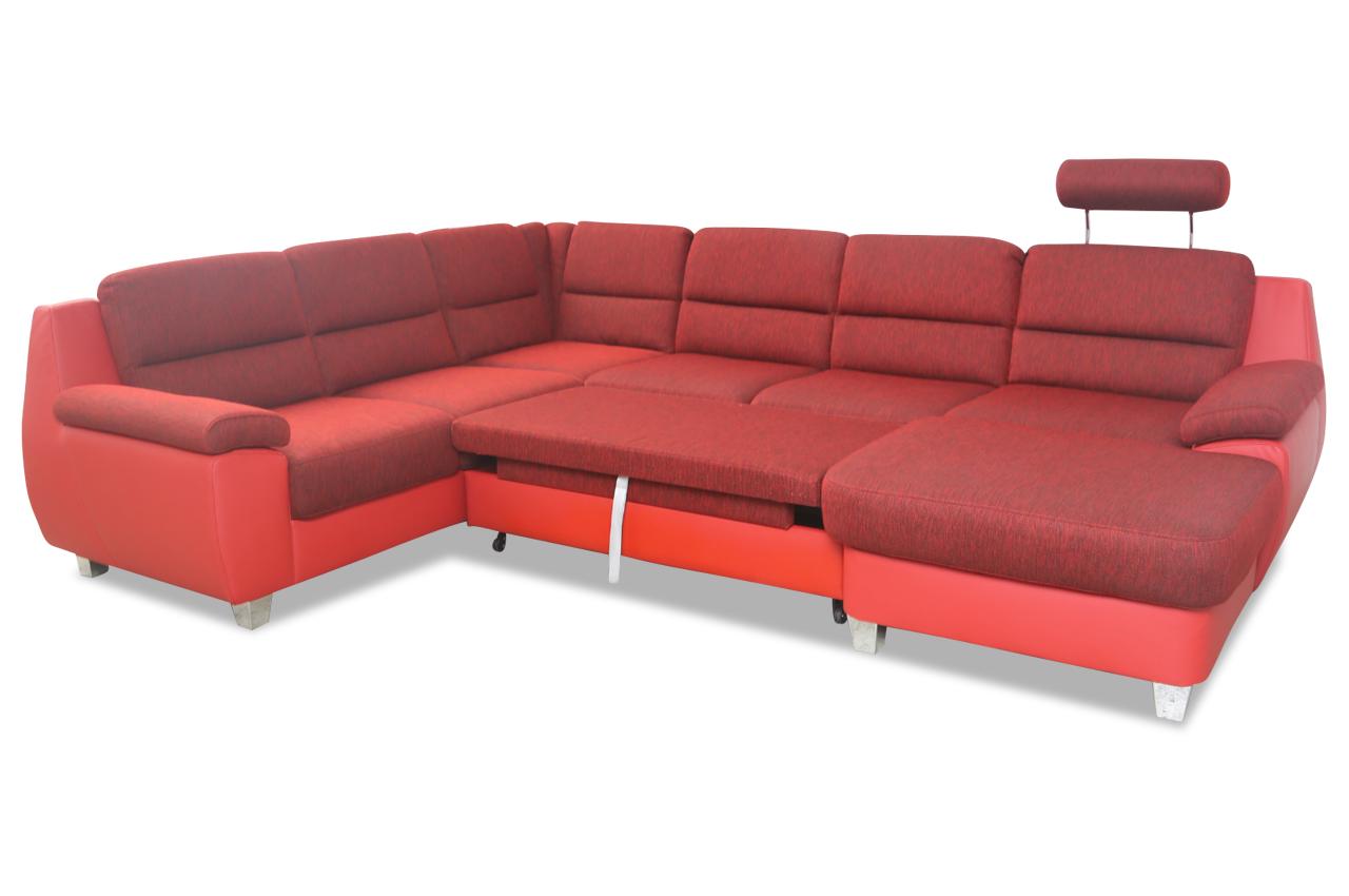 ada alina wohnlandschaft 7928 mit relax und schlaffunktion rot sofas zum halben preis. Black Bedroom Furniture Sets. Home Design Ideas