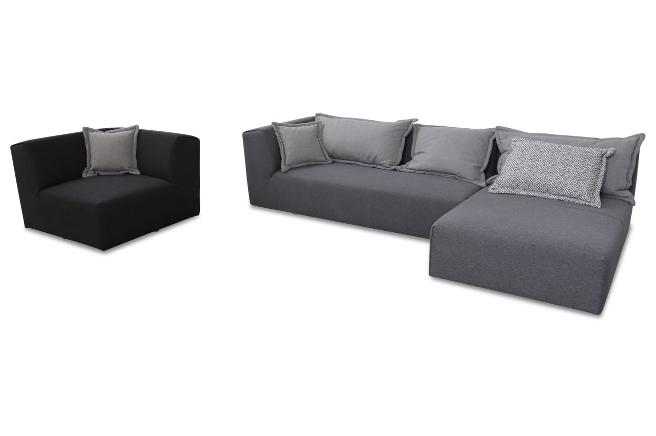Tom tailor ecksofa elements mit sessel grau sofas zum for Ecksofa 2 00