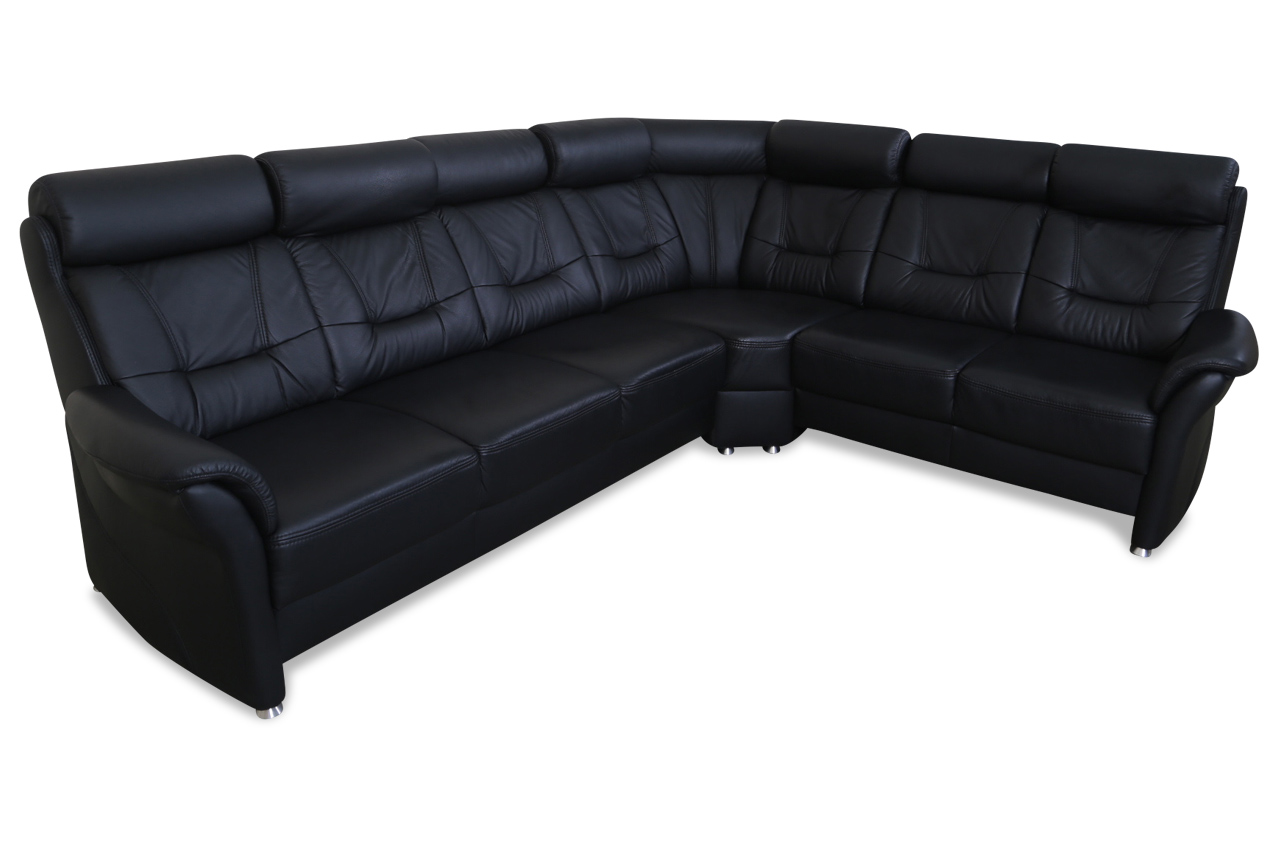 leder rundecke schwarz echt leder sofa couch ebay. Black Bedroom Furniture Sets. Home Design Ideas