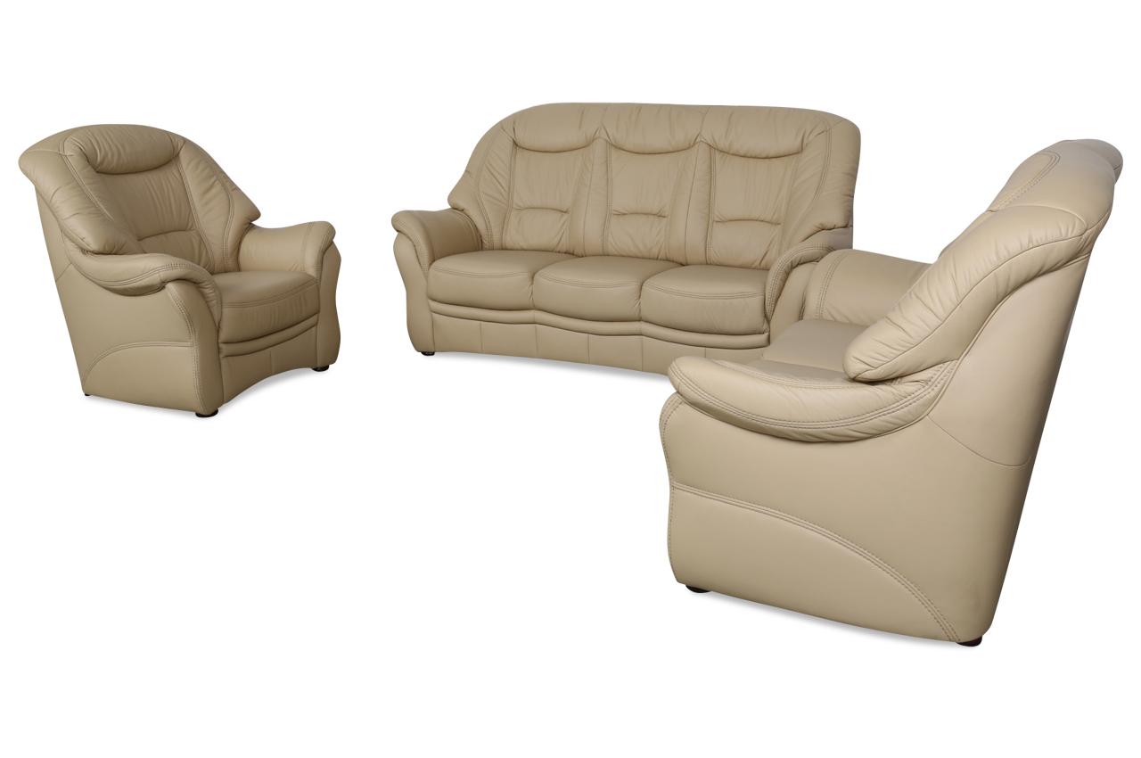 Leder garnitur 3 2 1 creme echt leder sofa couch ebay Sofa echt leder