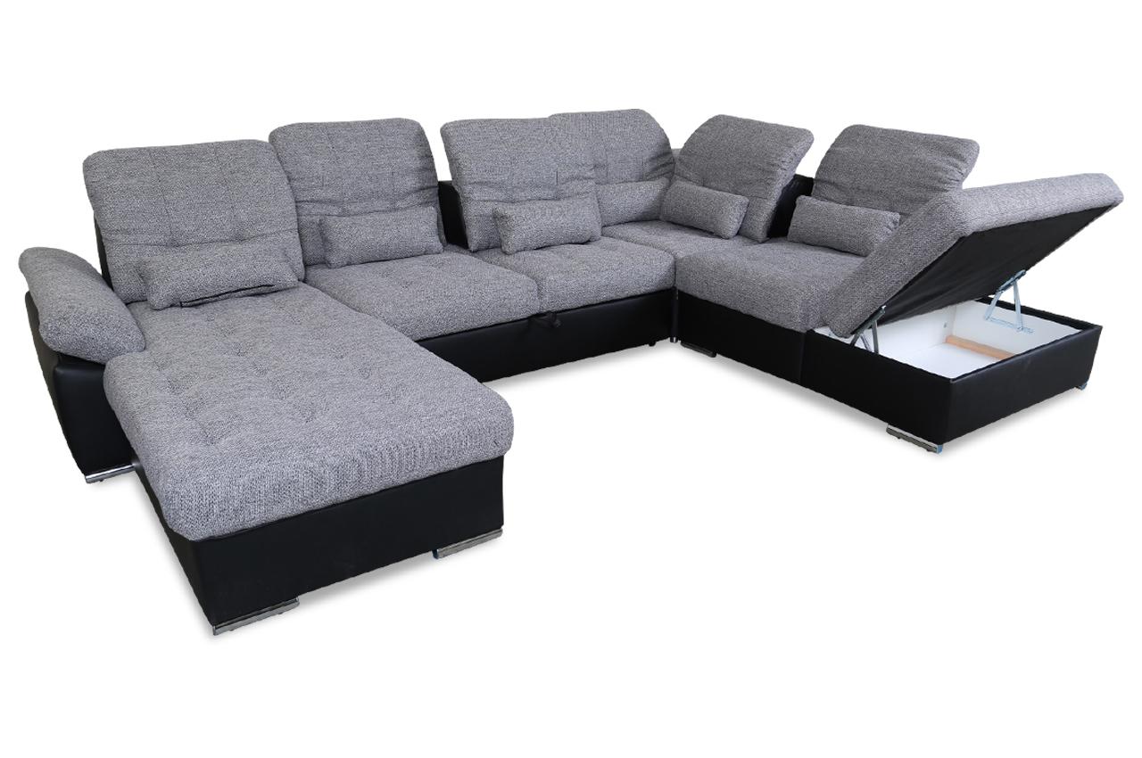 wohnlandschaft nopoly mit sitzverstellung und schlaffunktion grau mit federkern sofas zum. Black Bedroom Furniture Sets. Home Design Ideas