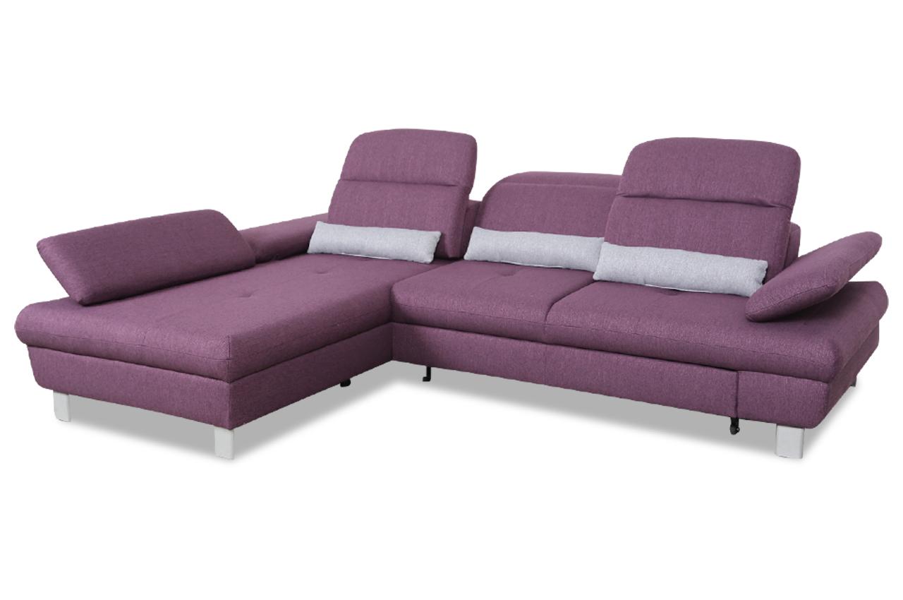 exxpo by gala ecksofa nyon mit sitzverstellung und schlaffunktion violette sofas zum. Black Bedroom Furniture Sets. Home Design Ideas