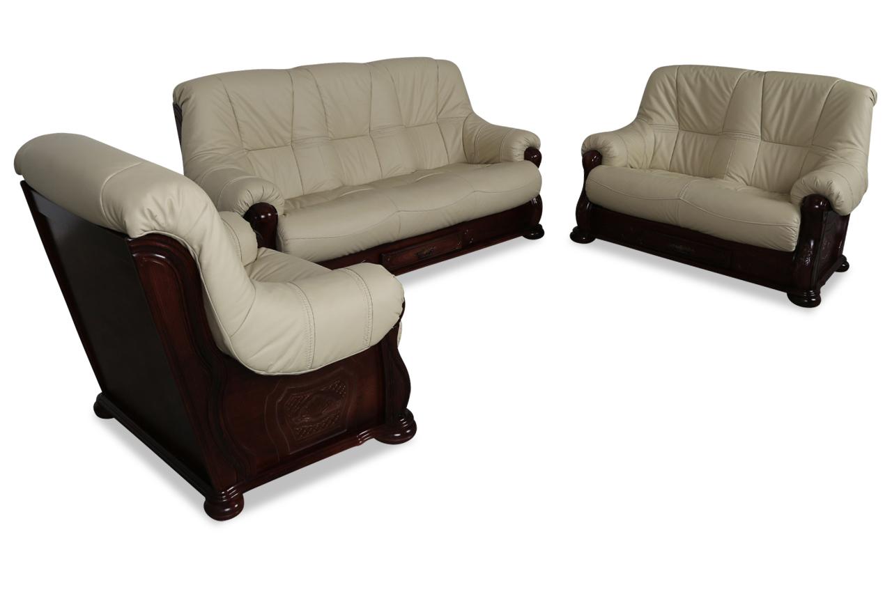 chojmex leder garnitur 3 2 1 michelle creme sofas zum halben preis. Black Bedroom Furniture Sets. Home Design Ideas