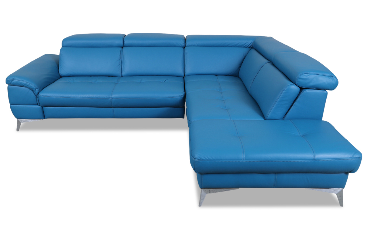 Leder ecksofa xl blau mit federkern sofas zum halben preis for Ecksofa leder federkern