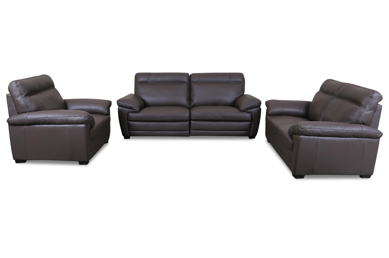 editions leder garnitur 3 2 1 u074 braun sofas zum halben preis. Black Bedroom Furniture Sets. Home Design Ideas
