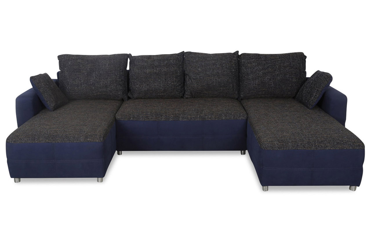 wohnlandschaft mit schlaffunktion blau sofas zum. Black Bedroom Furniture Sets. Home Design Ideas