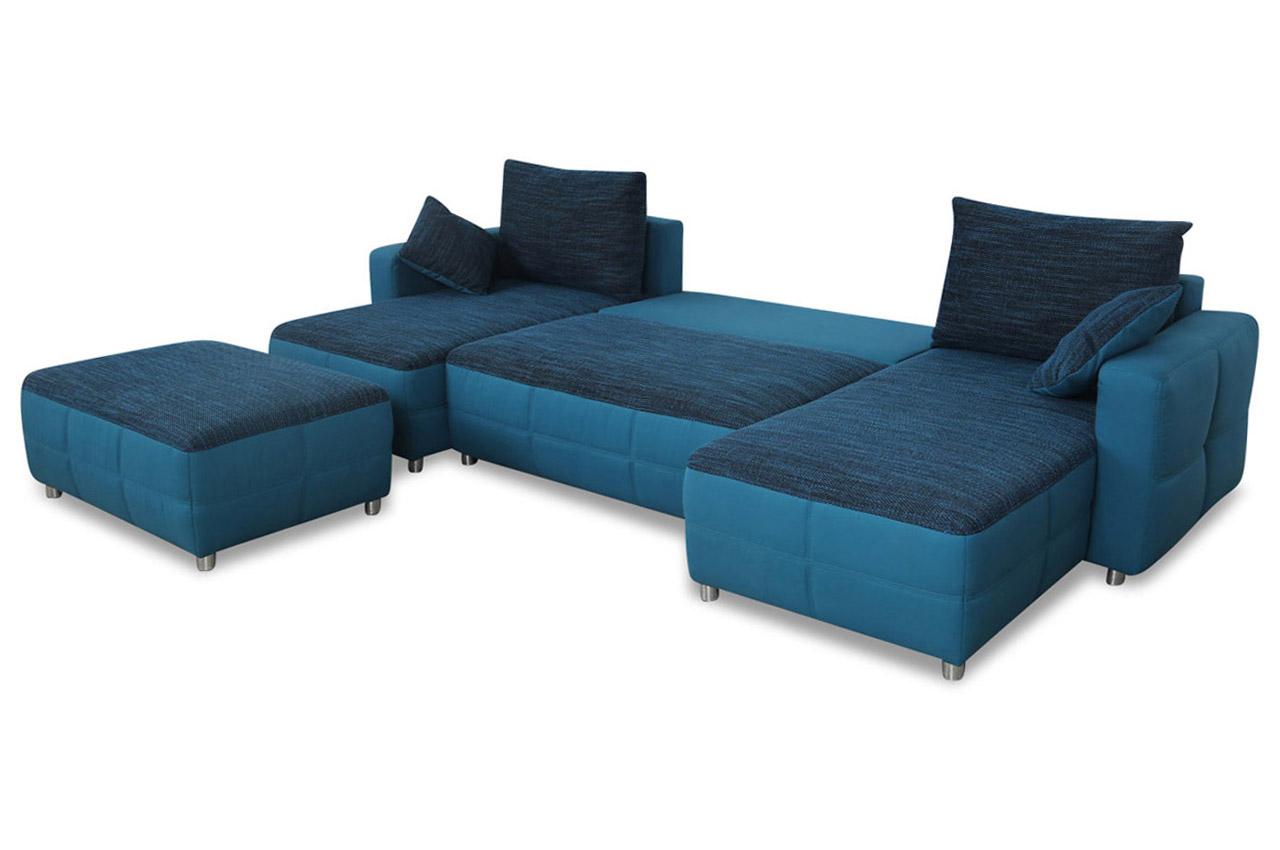 wohnlandschaft mit hocker mit schlaffunktion blau sofas zum halben preis. Black Bedroom Furniture Sets. Home Design Ideas
