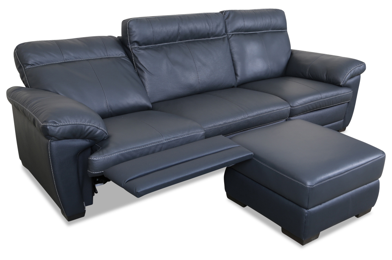 editions leder 3er sofa u074 mit hocker schwarz sofas zum halben preis. Black Bedroom Furniture Sets. Home Design Ideas