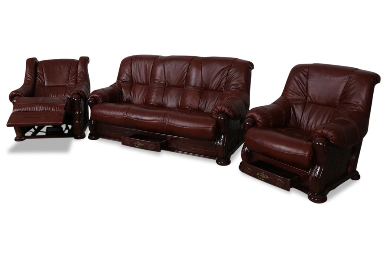 chojmex leder garnitur 3 1 1 michelle braun sofas zum. Black Bedroom Furniture Sets. Home Design Ideas