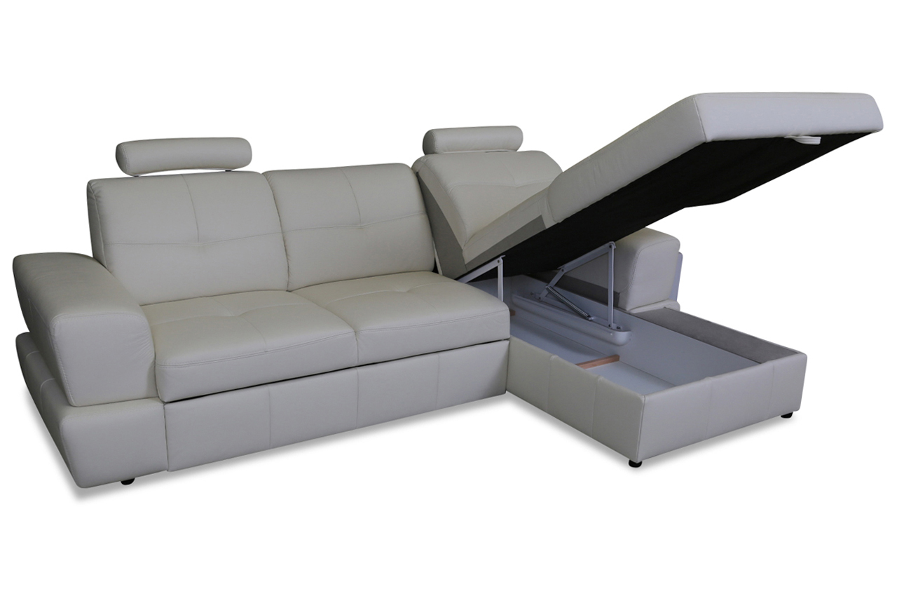 cotta leder ecksofa milo mit schlaffunktion grau sofas zum halben preis. Black Bedroom Furniture Sets. Home Design Ideas