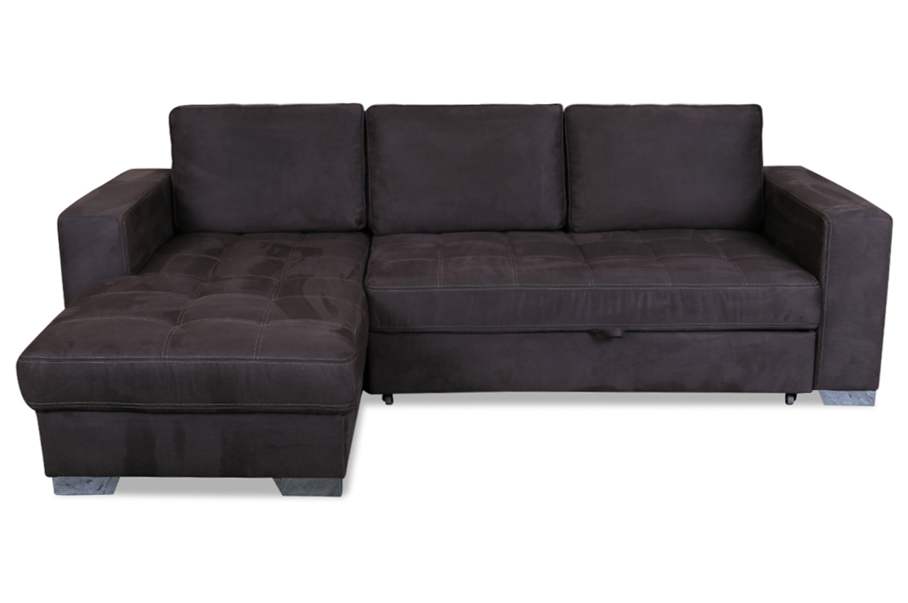ecksofa arles mit schlaffunktion braun mit federkern. Black Bedroom Furniture Sets. Home Design Ideas