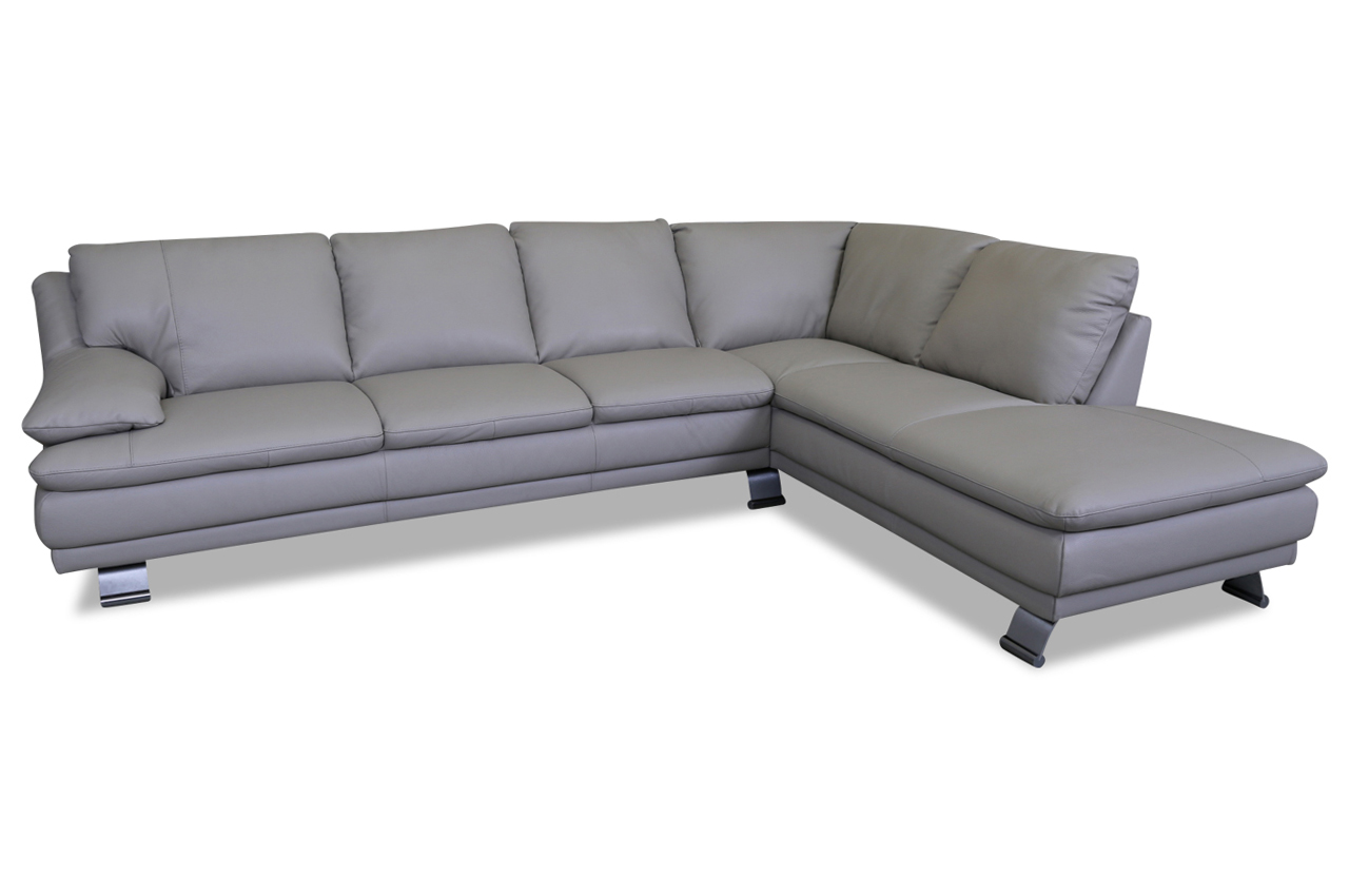editions leder ecksofa xl u118 grau mit federkern. Black Bedroom Furniture Sets. Home Design Ideas
