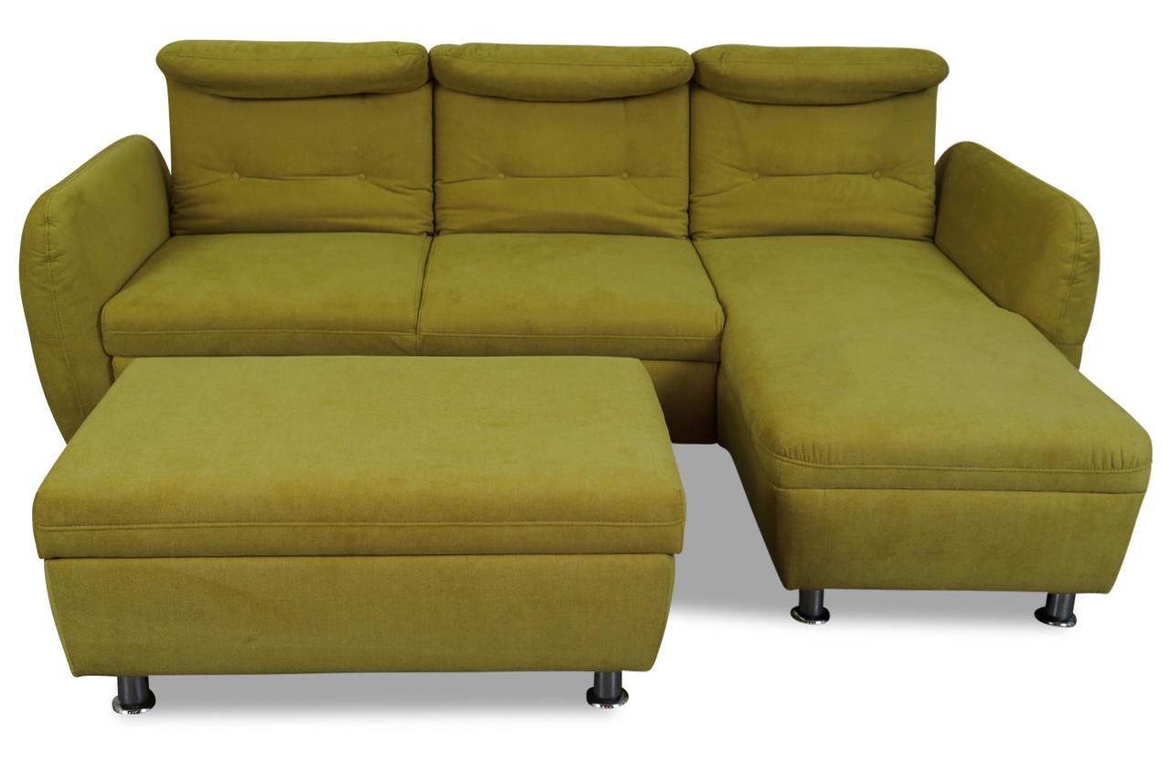 furntrade ecksofa luca mit hocker mit schlaffunktion gruen sofas zum halben preis. Black Bedroom Furniture Sets. Home Design Ideas