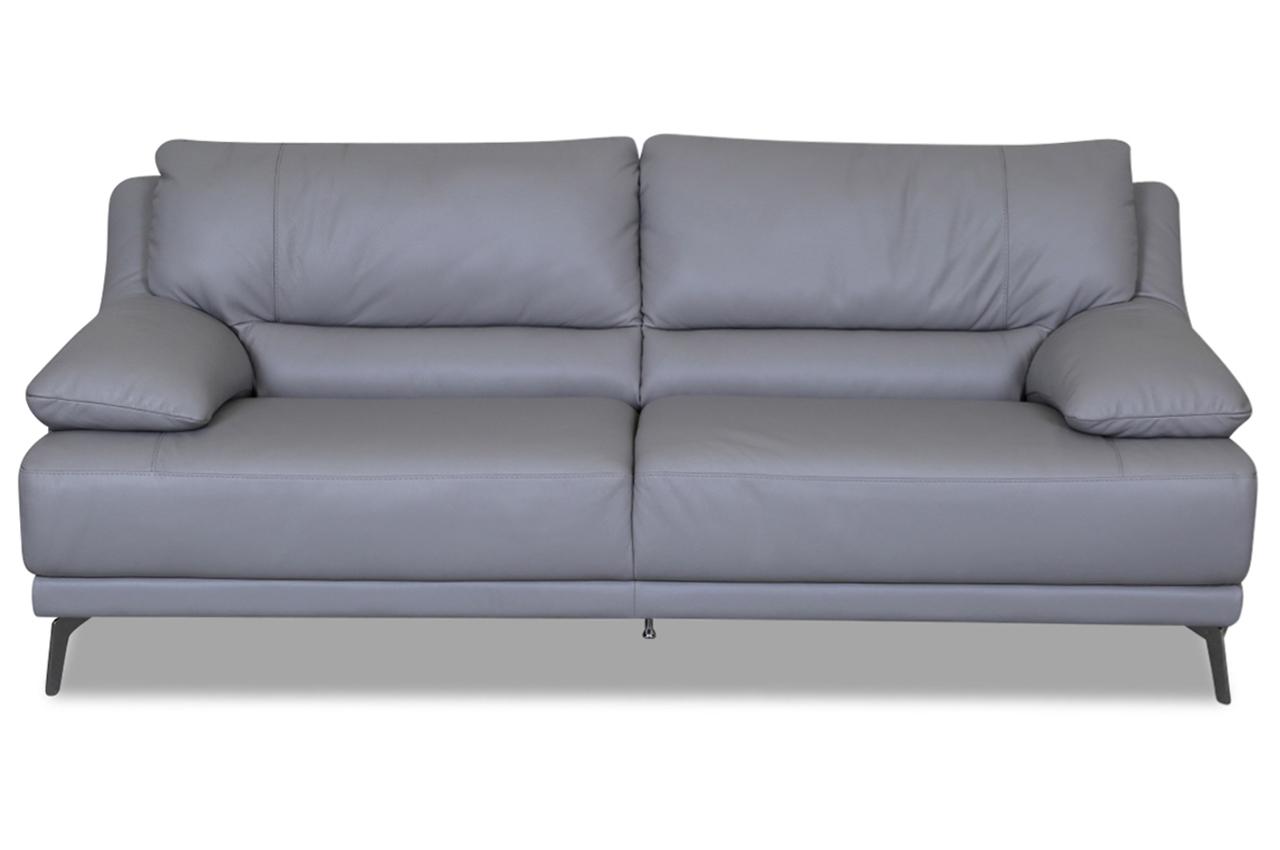 editions leder 3er sofa u141 grau mit federkern sofas zum halben preis. Black Bedroom Furniture Sets. Home Design Ideas