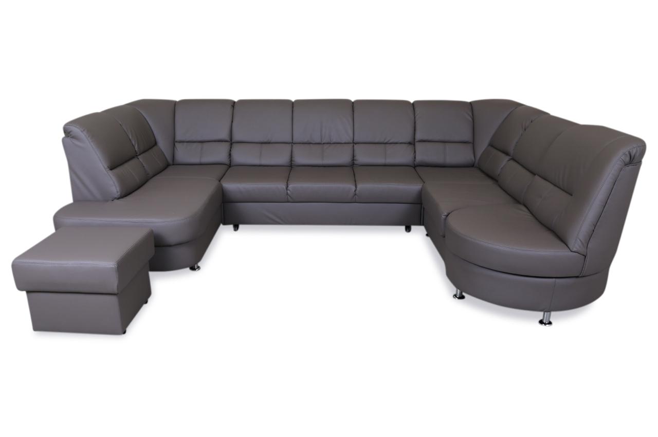wohnlandschaft pisa mit hocker mit relax und schlaffunktion grau sofas zum halben preis. Black Bedroom Furniture Sets. Home Design Ideas