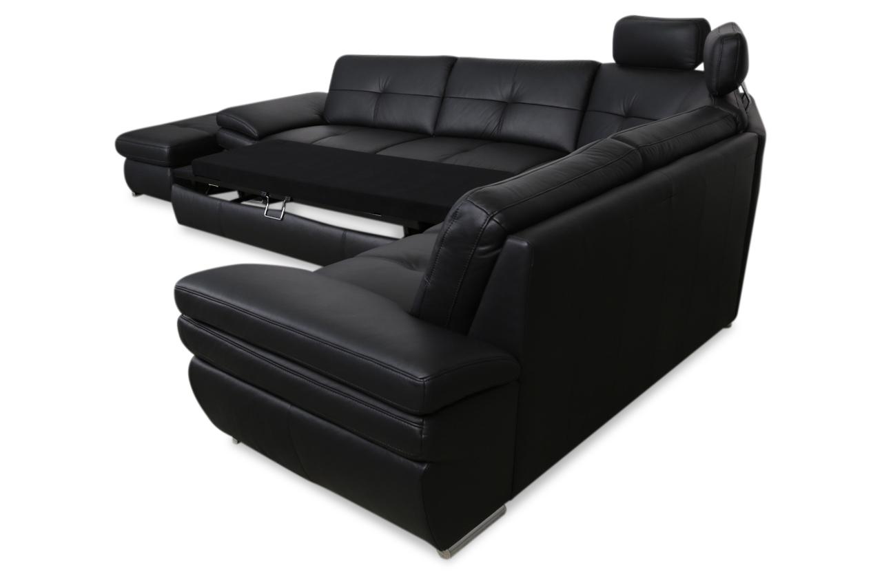 leder rundecke mit hocker mit schlaffunktion schwarz sofas zum halben preis. Black Bedroom Furniture Sets. Home Design Ideas