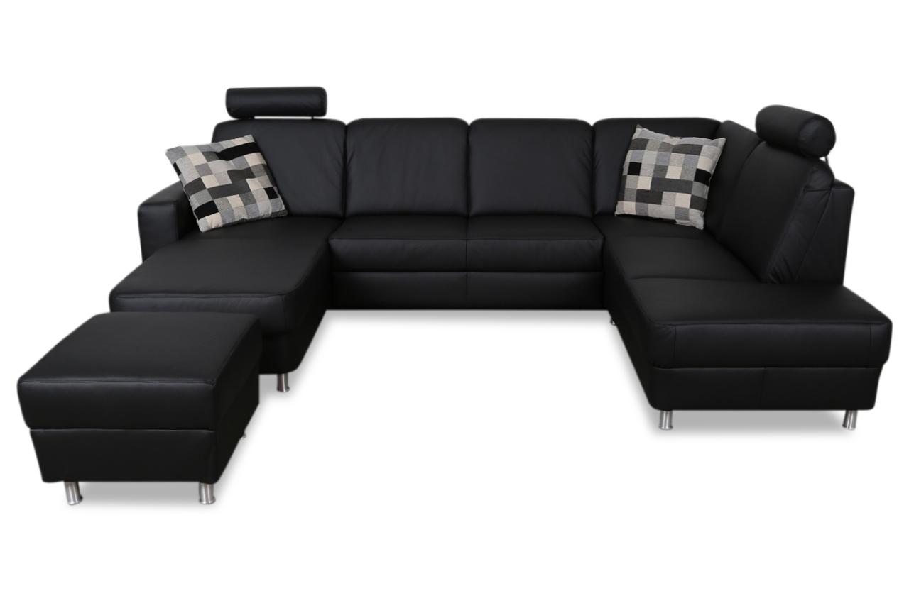 ada alina leder wohnlandschaft 7427 mit relax und schlaffunktion schwarz sofas zum halben. Black Bedroom Furniture Sets. Home Design Ideas