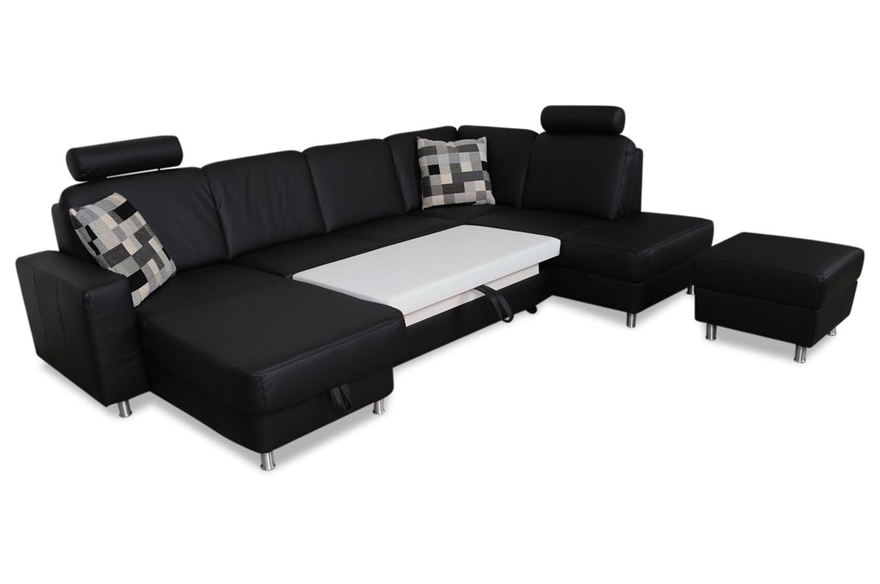 ada alina leder wohnlandschaft 7427 mit schlaffunktion schwarz sofas zum halben preis. Black Bedroom Furniture Sets. Home Design Ideas