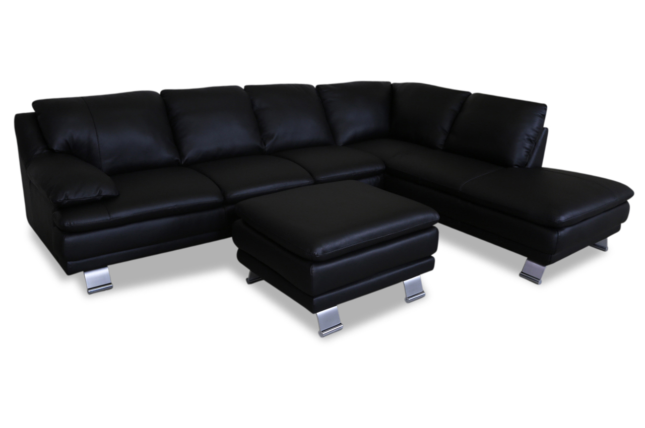 furntrade leder ecksofa xl u118 mit hocker schwarz mit. Black Bedroom Furniture Sets. Home Design Ideas